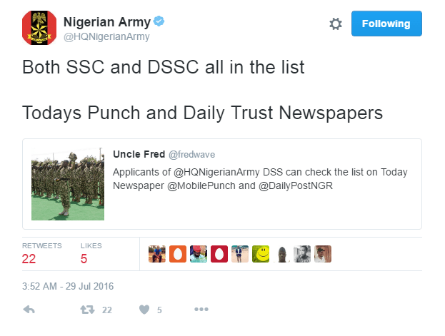 Nigerian Army Recruitment: List of SSC and DSSC 2016 Released