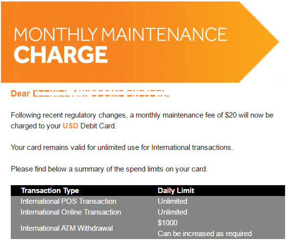 Access bank introduce monthly charge of $20 on dollar debit cards (Screenshot)