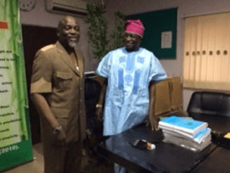 The newly appointed JAMB Registrar, Prof. Ishaq Oloyede and the outgoing Registrar, Prof. Dibu Ojerinde.