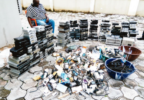 Materials used for piracy siezed by the Nigeria Copyright Commission