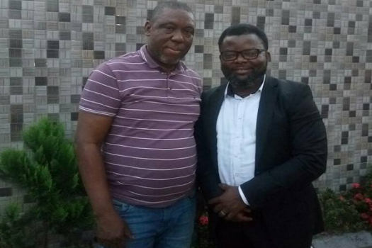 Mr. (Prophet) Jones Erue (LEFT) and governorship aspirant, Comrade Sunny Ofehe (right) during their meeting in Portharcourt