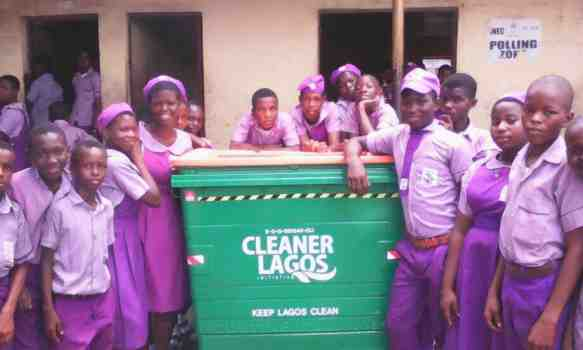 Students of Badore Junior Community Sch Lagos one of the schools where CLI donated waste bin