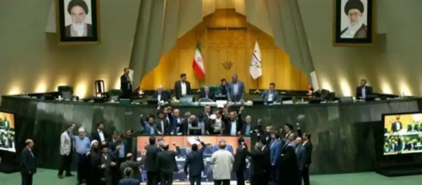 "Iran lawmakers chant ""Death to America"" as they burn US flag"