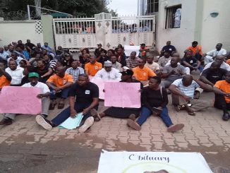NEMA workers during the protest