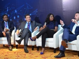 L-R Director, Digital Advisory Team, Ernst & Young, West Africa, Dapo Adewole; Associate Director, Biware Consulting, Walid Kaâbachi; Head, Card Business,FirstBank Nigeria, Folasade Femi-Lawaland Senior Industry Consultant, Global Banking Practice, SAS, Alex Kwiatkowski during a panel discussion at the SAS Road to Digital Transformation and Artificial Intelligence Workshop in Lagos.