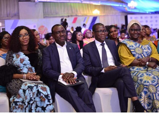 L-R: Executive Director, Stanbic IBTC Pension Managers Limited, Mrs Nike Bajomo; Chief Executive, Stanbic IBTC Bank PLC, Dr Demola Sogunle, Chief Executive, Stanbic IBTC Holdings PLC, Mr Yinka Sanni; and Non-Executive Director, Stanbic IBTC, Mrs Salamatu Hussaini Suleiman, at the Blue Women Network event held by Stanbic IBTC, in Lagos, to commemorate the International Women's Day