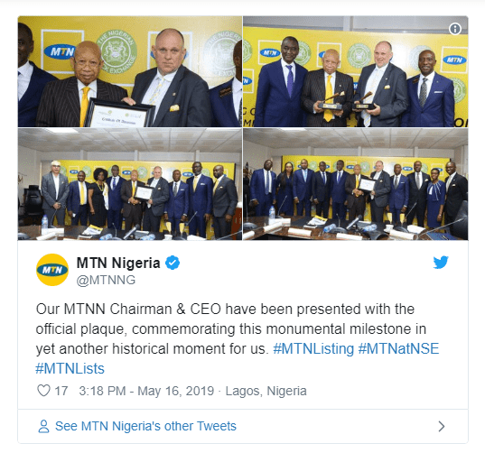 MTN becomes 2nd largest company on Nigerian Stock Exchange upon listing
