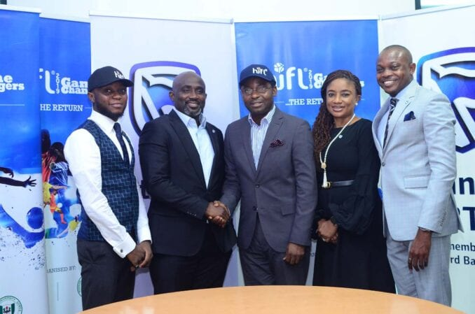 L-R: Chief Strategy Officer, PACE Sports and Entertainment Marketing, Olamide Adeyemo; Head, Global Markets, Stanbic IBTC Bank, Samuel Ocheho; Director, PACE Sports and Entertainment Marketing, Sola Fijabi; Head, Marketing and Communications, Stanbic IBTC, Bridget Oyefeso-Odusami; and Manager, Corporate Communications, Stanbic IBTC, Usman Imanah, at the MoU signing ceremony for Stanbic IBTC's sponsorship of Higher Institutions Football League (HiFL), held in Lagos, on Wednesday (24/4/2019)