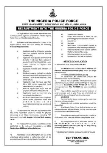 Nigeria Police Recruitment Portal 2020