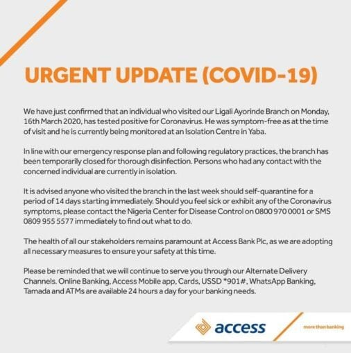 Coronavirus forces Access Bank to close branch in Lagos