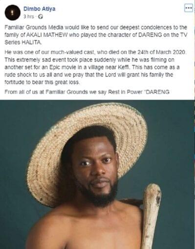 Nollywood actor Alkali dies on while filming movie