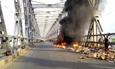 Niger Bridge on fire