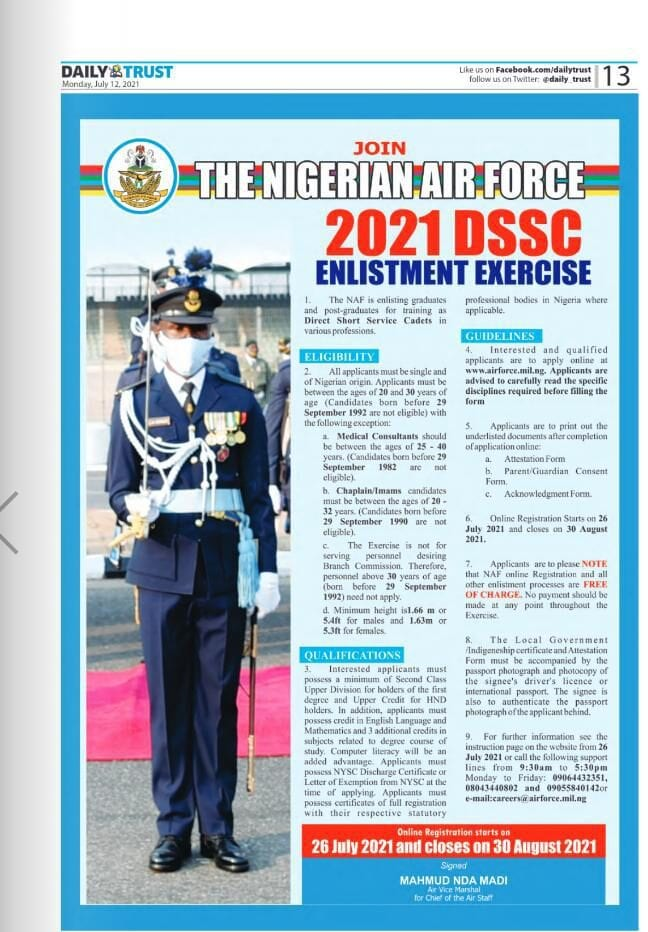 How to Apply for Nigerian Airforce NAF DSSC Recruitment 2021